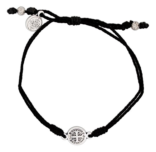 Inspirational Breathe Bracelet, Adjustable (Silver Plated on Black) (Necklace Charm Hanging Logo)