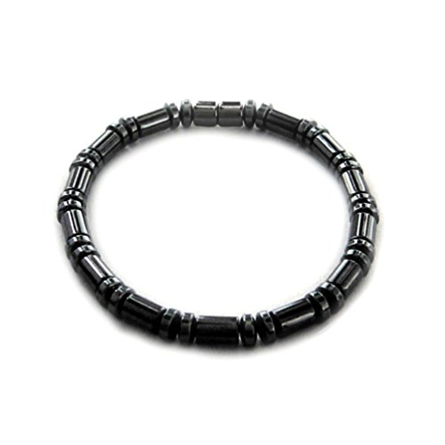 (Accents Kingdom Men's Magnetic Hematite Cylindrical Bead Bracelet,)