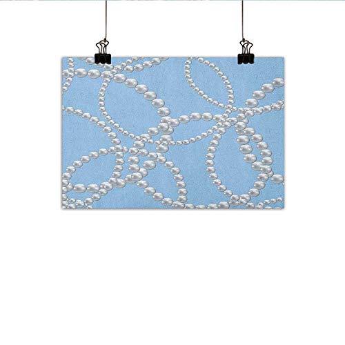 Necklace Hamsa Vibrant (Littletonhome Pearls Living Room Decorative Painting Pearl Necklace Bracelet Classic Women Bridal Groom Shower Theme Feminine Art Modern Minimalist Atmosphere 24