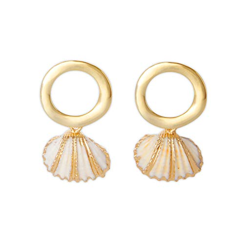 LAONATO Gold Tone Irregular Open Circle and Golden Accent Scallop Drop Earrings