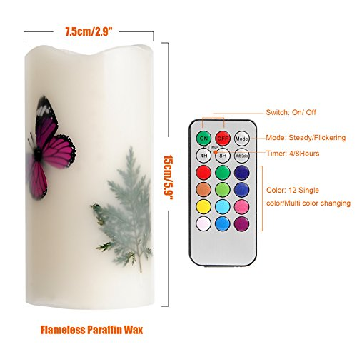 LED Candles Flameless Battery Operated with Remote Timer 6'' Tealight Butterfly & Plants Decor Real Wax Electric Candle Lights 12 Color Changing for Home&Kitchen Indoor/Outdoor Party by Wending (Image #1)