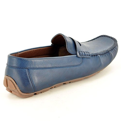 MenSlipper, Leder s Casual Mokassins Slipper Driving Schuhe Blau
