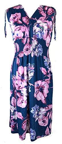 (Vibrant V-Neck Knee Length Dress - Assorted Styles Plus & Regular Sizes Tropical Floral blu 3X)