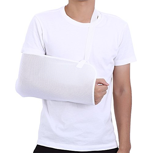 Zerone De malla ajustable inmovilizador de hombro respirable codera de Apoyo Cabestrillo de brazo (blanco)