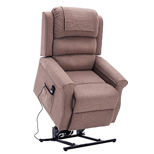 Royal Way Electric Power Lift Recliner Chair Classic Comfortable (Brushed) Linen Fabric Lounge for Elderly Gift Nursing Home Equipment (Brown)