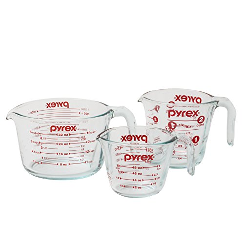 Pyrex 3-Piece Glass Measuring Cup Set ~ These are perfect for measuring large quantities of liquid.