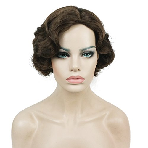 Lydell Vintage Cosplay Wig Short Wavy Flapper Wig #8 Lt chestnut Brown Great Mother's Day Gifts (Brown Flapper Wig)