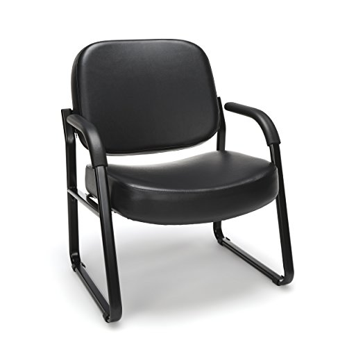 OFM Big and Tall Reception Chair with Arms - Anti-Microbial/Anti-Bacterial Vinyl Mid-Back Guest Chair, Black