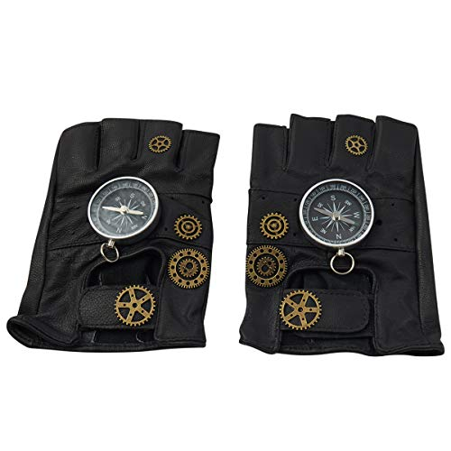 Cheap Steampunk Accessories (KOGOGO Steampunk Leather Gloves Mens Gothic Fingerless)