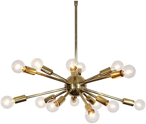 5 Arms Mid Century Chrome Brass Light Chandelier Fixture  Sputnik Chandelier