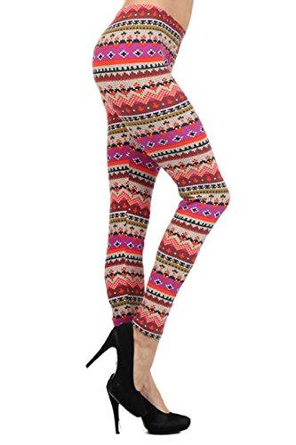 Leggings Depot Women's Seasonal Quality Printed Leggings For Fall/Winter Batch1 (Holly's Blush) ()