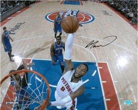 Andre-Drummond-Autographed-Detroit-Pistons-16x20-Photo-2-201314-Home-Slam-Dunk