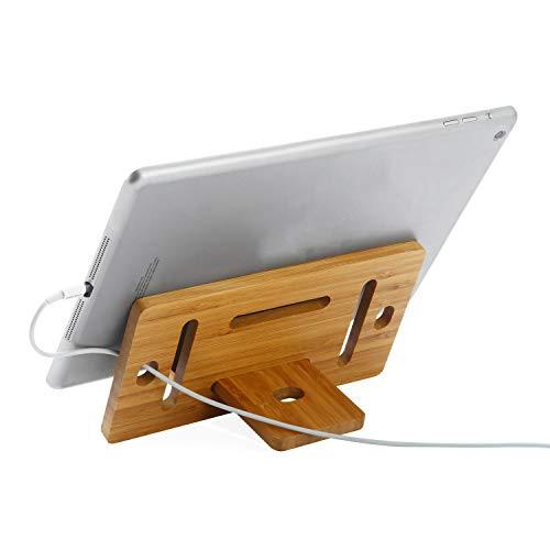 Tablet Cellphone Stands, YuTianTang Adjustable Bamboo Cell Phone Holder Stand for Tablet and Phone, Suitable for Most Tablets PC(4-13 inch)