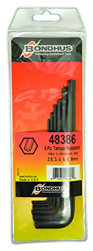 Bondhus 48386 Tamper Resistant Hex L-Wrenches, Set of 6