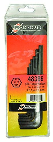 (Bondhus 48386 Tamper Resistant Hex L-Wrenches, Set of 6)