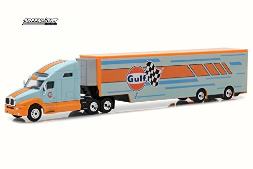 Greenlight 2018 Kenworth T2000 Transporter, Blue w/ Orange 29929 - 1/64 Scale Diecast Model Toy Car ()