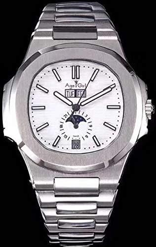 Orologio da uomo meccanico automatico di di Orologio Sapphire Giorno Data Vetro trasparente Fase lunare Nero Blu Fuso orario multiplo Black