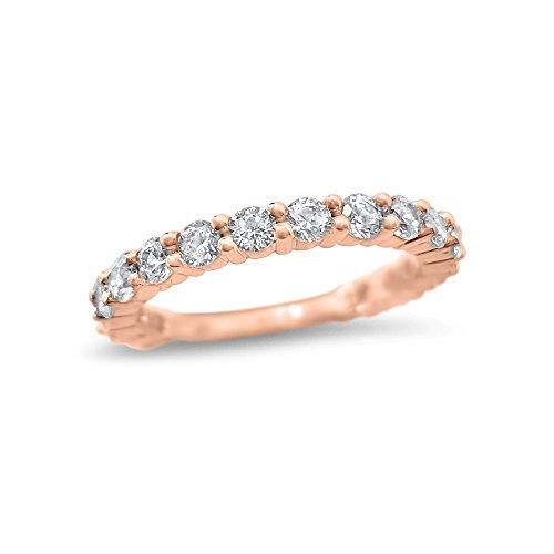 1 Carat Forever ONE Moissanite wedding ring 14k Rose Gold 17 Stone Forever ONE half eternity wedding band