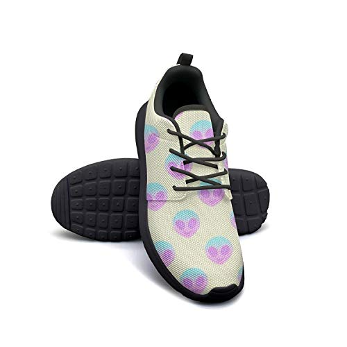Coloful Alien Head Running Shoes Lightweight Women Sneaker Workout Breathable -