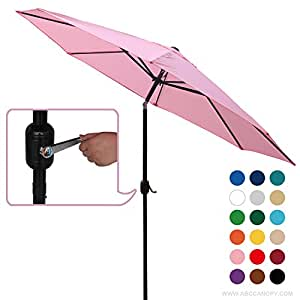 abccanopy comercial 9-Feet Patio paraguas con botón de presión de inclinación y manivela, 8varillas de acero, color rosa