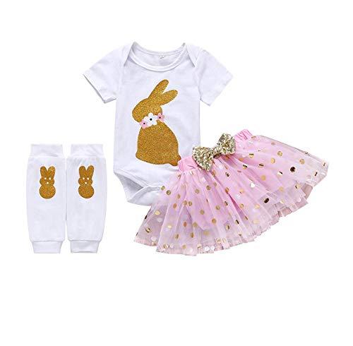 AR-LLOYD Baby Girls Easter Skirt Set Infant Girl Bunny Romper + Golden Dots Tutu Skirt + Rabbit Leg Warmers 3PCS Outfits (Lovely Pink, -