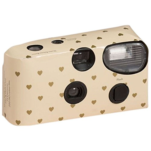 Heart Design Single Use Disposable Wedding Camera Style 5504, Ivory