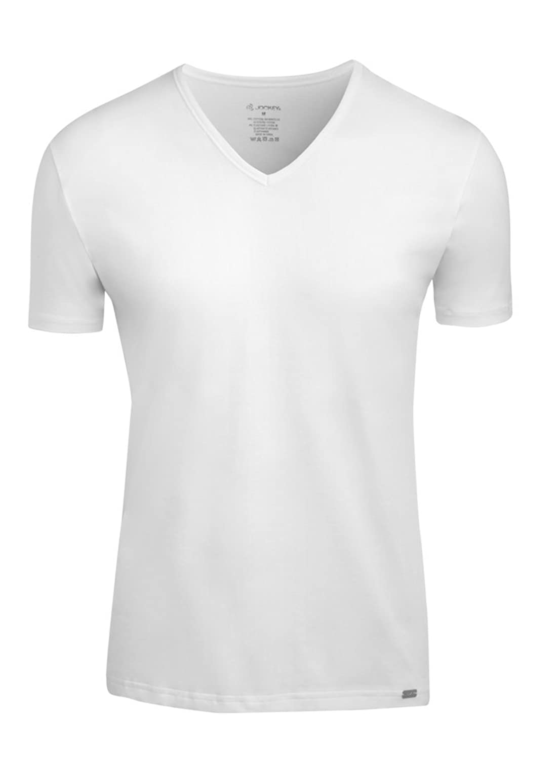 Jockey Premium Cotton V-Neck Shirt 4er Pack black - white