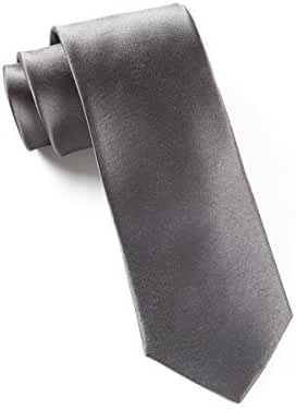 The Tie Bar 100% Woven Silk Charcoal Solid Satin Tie
