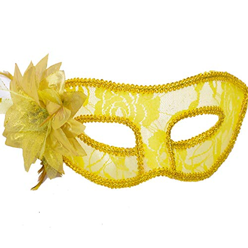 Runlong Masquerade Mask for Girls Women, Halloween Carnival Fancy Dress Costume Dancing Party Cosplay Eye Mask with Feather Flower Lace (Yellow)