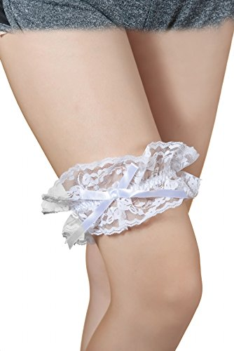 Women's Satin Leg Garter Lace Wedding Garter Satin Bow with Toss Away Set Stretchable Legs Butterfly Flowers Style (A-B-7) Wedding Leg Garter