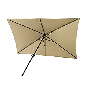 FLAME&SHADE 6ft 6in x 10 ft Rectangular Outdoor Market Patio Umbrella Parasol with Crank Lift, Push Button Tilt, Beige