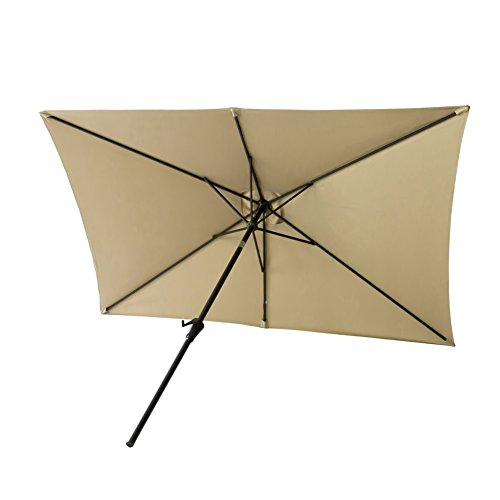 FLAME&SHADE 6ft 6in x 10 ft Rectangular Outdoor Market Patio Umbrella Parasol with Crank Lift, Push Button Tilt, Beige by FLAME&SHADE (Image #2)