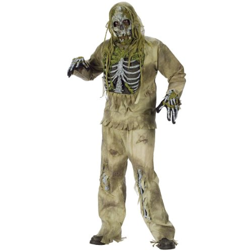 Skeleton Zombie Adult Mens Costumes (FunWorld Young Men's Teen Skeleton Zombie, Greenish Yellow, One Size Costume)