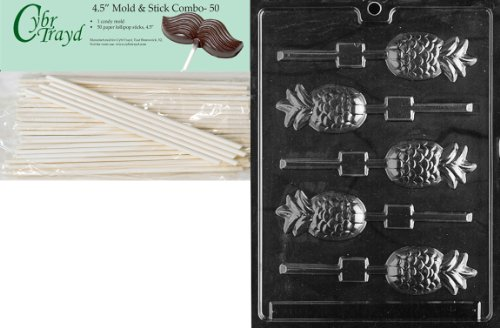 Cybrtrayd Pineapple Lolly Fruits and Vegetables Chocolate Candy Mold with 50 4.5-Inch Lollipop Sticks