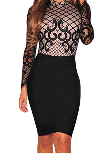 FQHOME Womens Black Nude Illusion Lace up Back Bodysuit Size S (Sexiest Couple Costumes)