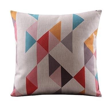Create For-Life Cotton Linen Decorative Pillowcase Throw Pillow Cushion Cover Square 18  Retro Asymmetric Triangles