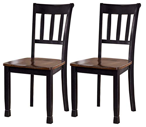 Ashley Furniture Signature Design – Owingsville Dining Room Side Chair – Latter Back – Set of 2 – Black-Brown