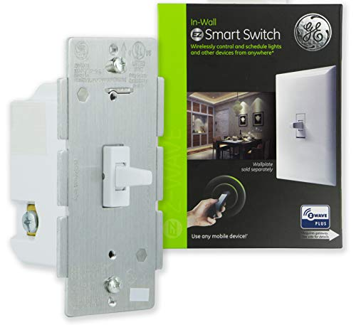 GE Enbrighten Z-Wave Plus Smart Toggle Light Switch, On/Off Control, in-Wall, Built-in Repeater/Range Extender, Zwave Hub Required, Works with SmartThings Wink and Alexa, 14292, White