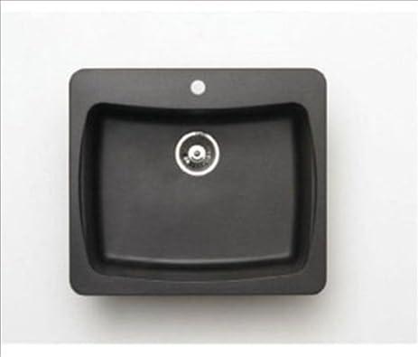 Pegasus AL10MB 25 Inch By 22 Inch Granite Single Bowl Kitchen Sink, Metallic