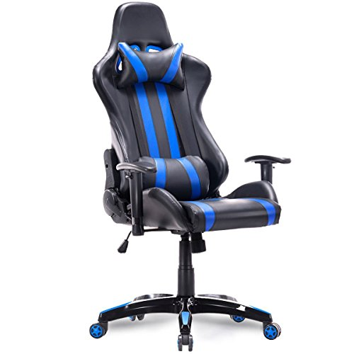 Giantex Executive Racing Style High Back Reclining Chair Gaming Chair Office Computer (Blue) Giantex