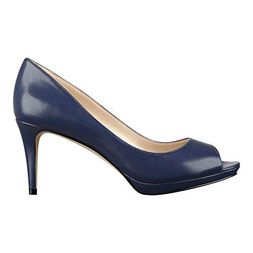 Nine West Frauen Peep Toe Leder Klassische Pumps Blue Le Le