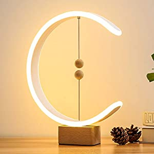 Heng Balance Lamp, Table Lamp Smart Magnetic Suspension Balance Light Creative LED Night Light Table Lamp Fun Birthday Present Contemporary Soft Light Office Modern Home Dorm Bedside (Wood) Lamps and Shades