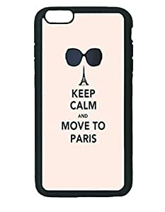 "Iphone 6 5.5"" Plus Tpu Protective Case, Eiffel Tower Quotes Move To Paris Fashion Durable Unique RUBBER Durable Case Cover Skin for IPhone 6 Plus - Black Silicone Case"