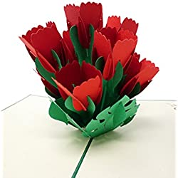 Red Tulip - WOW 3D Flower Pop Up Greeting Card for All Occasions - Love, Birthday, Anniversary, Wedding, Loved Ones, Congratulations, Get Well