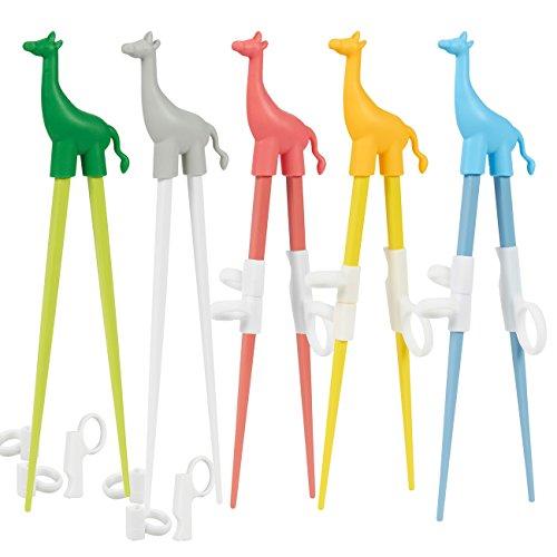 Juvale 5 Pack Kids Chopsticks - Training Chopsticks for Kids - Cute Giraffe Animal Learning Chopsticks with Training Grips, Assorted Colors
