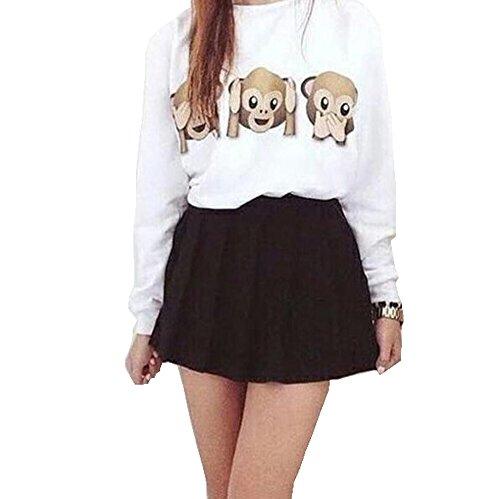 Las mujeres del mono animal Emoji impreso alrededor del cuello del suéter del otoño de manga larga blusa superior de la camiseta Blanco