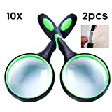 10X Magnifying Glass, Handheld Reading Magnifier, 75mm Magnifying Glass Lens, Thickened Rubbery Frame with Non-Slip Soft Handle for Newspaper Reading, Insect, Science for Seniors Kids(2 PC)