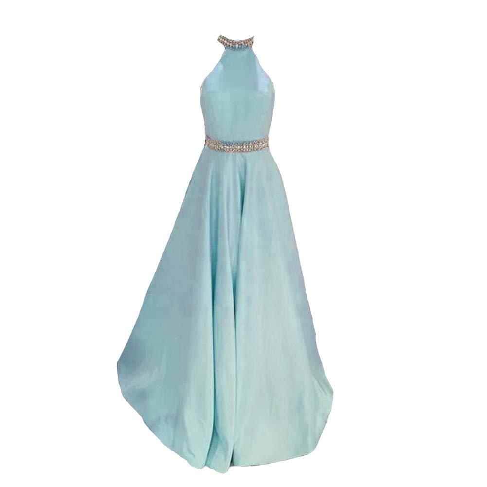 Sky bluee Kivary Women Beaded Halter Satin Long Backless Formal Prom Dresses Evening Gowns