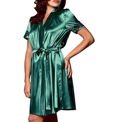 Sexy Robe for Women Satin Nightdress Silk Lace Lingerie Nightgown Sleepwear Green