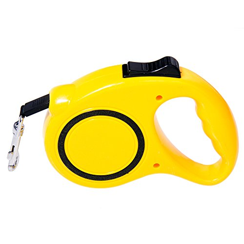 Imesun Dog Training Retractable Leash with 9-Feet Nylon Rope, One Button Brake and Lock, Yellow